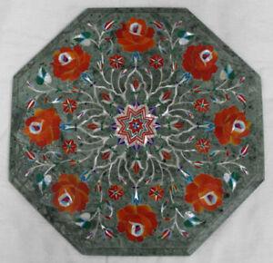 "12"" marble side carnelian stone inlay work table top marquetry handmade"