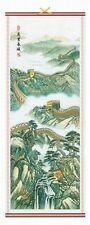 (1) ORIENTAL RATTAN SCROLL #17 ~ ASIAN MOUNTAIN SCENE ~ GREAT WALL ~ Ratan Art