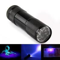 Mini Aluminum UV ULTRA VIOLET 9 LED FLASHLIGHT BLACKLIGHT Torch Light Lamp HOT~