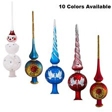 Christmas Tree Topper Blown Glass Xmas Tree Finials Glass Treetop Spire 10 inch