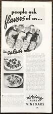1937 Heinz Vinegars PRINT AD Pineapple Strawberry Egg Roquefort Tarragon Salads
