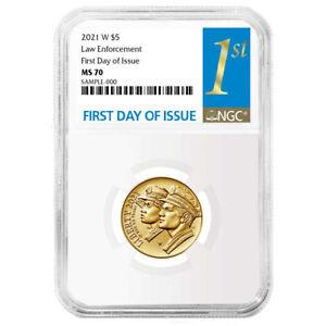 Presale - 2021-W UNC $5 Gold National Law Enforcement Museum NGC MS70 FDI First