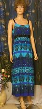 Pretty R&K Originals Tank Top Mandala Print Summer Gown in Shades of Blue, 14