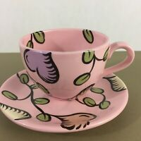 Robin Krauss signed art pottery coffee cup & saucer plate 2 pc pink hearts 90s
