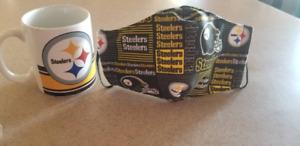 NFL Pittsburg Steelers 11 oz  mug &Facial Mask/Tasa y Cubreboca de los Steelers