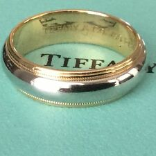 Tiffany & Co Platinum and Rose Gold Mens 6MM Wedding Band $2225 Size 8.25