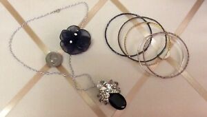 Rhinestone Pendant Necklace & Flower Brooch and Bangle Jewelry Lot