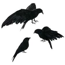 3pcs Artificial Realistic Halloween Decor Bird Fake Black Feathered Fancy Crows