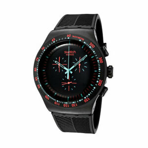 Swatch In Dark Chronograph Black Dial SS Silicone Quartz Men's Watch YOB105