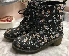 Dr Martin Black Floral Print Boots 6