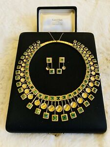 H. Burle Marx Gold & Tourmaline Collar Drop Necklace and Earrings Set