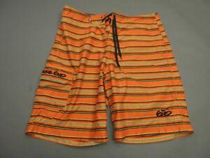 Nike 6.0 Size 34 Mens Orange Striped Swimming Trunks Board Shorts T487