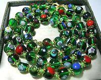 Lovely Green Millefiori Venetian Murano Glass Bead Long Vintage Style NECKLACE
