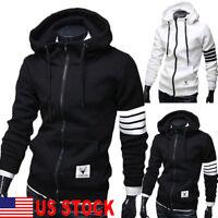 US Men's Hoodie Sweater Hip-hop Skateboard Sweatshirts Zip Coats Jacket Outwear