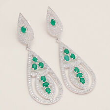 Natural Zambian Emerald Chandelier Earring 925Sterling Silver Engagement Jewelry