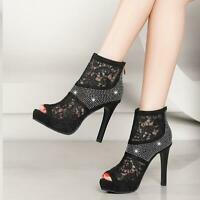 Women Rhinestone Lace Mesh Peep Toe Platform High Heel Sandals Ankle Boots Shoes
