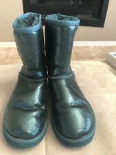 UGG Australia Classic Short Boot Size 7 Or 38 Green Shiny Leather S/n 1010653