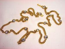Givenchy Swarovski Crystal Rhinestone Necklace Chain Goldtone