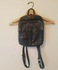 Perlina New York Black Leather Backpack purse bag Smooth beautiful tote handbag