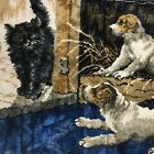 Vintage Wall Hanging Tapestry Rug Puppies Kitten Blue Cat Dogs Bone