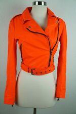 MUUBAA Sembri Orange Leather Motorcycle Distressed Goat jacket SZ 4