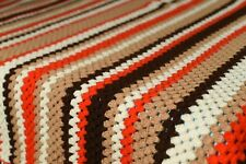 Vintage Hand Crocheted Granny Chevron Afghan Blanket Throw in Autumn Colors