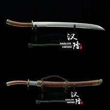 "Handmade CHINESE  ""QING DAO""  Folded Steel Blade Broad Sword Rosewood Scabbard"