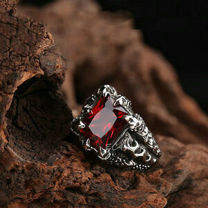 Men's Vintage Silver Dragon Claw Ruby Red CZ 316L Stainless Steel Biker Ring