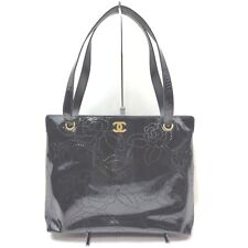Chanel Tote Bag Camellia Line Punching Tote Black Patent Leather 838717