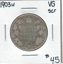 Canada 1903H Silver 50 Cents VG Scratch