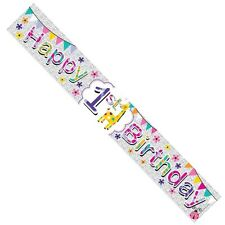 Age 1 Girl Foil Party Banner - Happy 1st Birthday - Giraffe Ladybird 2.6m