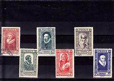 France 1943 - Série complète T. oblitérés  Personnages célèbres YT 587 à 592