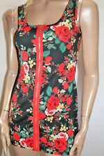 T Shape Brand Black Floral Zip Front Bodycon Tank Dress Size S BNWT #SN78