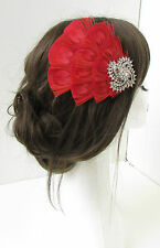 Red Silver Peacock Feather Fascinator Headpiece Hair Clip Vintage Races 1920s 3