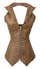 Antique Brown Real Leather Over bust Collared Corset Real Steel Bones Lace Up