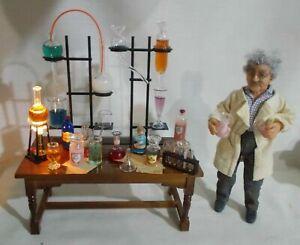 Dolls house Miniature Apothecary Laboratory Work Table Jekyll / Sherlock Holmes