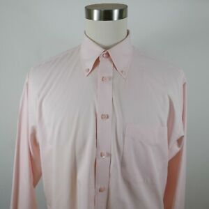 Nordstrom Mens Cotton Smart Care LS Button Up Solid Pastel Pink Shirt Size LL