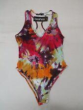 Boohoo Women's Sleeveless Poppy Tie Dye Bodysuit Multi-Color HM7 Size US 2 UK 6
