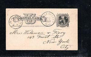 1887 Fancy Cancel Orange Valley, N.J., Sc #UX7 Postcard to New York City