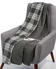 Biddeford Heated Electric Plush Throw Steel Gray