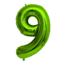 """Green Foil Party Balloon - Large 80cm (32"""") - Birthday Age - Number 9"""