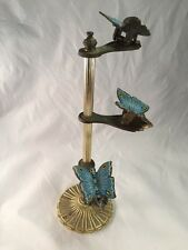 Vintage Old Butterfly Letter Holder Desk Stand w/ Gold Colored Base Allied Brass