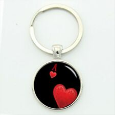 Metal Keychain Ace A Heart Suit Symbol of Playing Cards Poker Keyholder Keyring