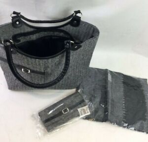 Fabric Finish Tote Bag, Wallet and Scarf Set Grey Black Monochrome Unbranded V9