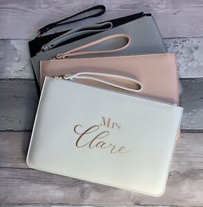 Personalised Bride/Bridesmaid Clutch Bag Pouch Faux Leather