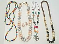 Vintage necklaces. Colorful glass gemstone beads, pastel plastic, Peace sign +