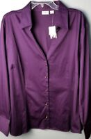 CATO WOMAN SPORTSWEAR Women's SZ 22/24W Cotton Blouse Top Shirt Purple NWT~I34