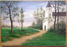 Pierre J Martin Signed Original Oil Painting Impressionism Landscape Church