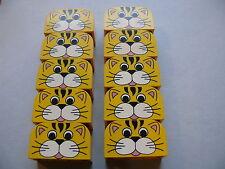 Lego 10 briques tigre jaune set basique / 10 yellow bricks with tiger pattern