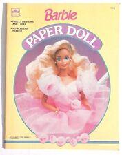 NOS Vintage 1990 BARBIE GOLDEN BOOK (Mattel) Un-Punched Paper Dolls Doll